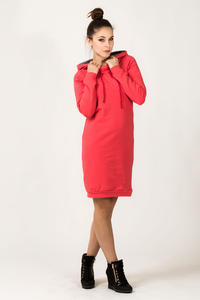 Coral Hooded Dress with Long Sleeves