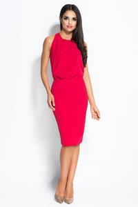 Fuchsia Evening Dress with Open Back and Chain