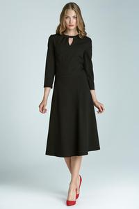 Black Elegant Office Style Dress with Cut Out Collar