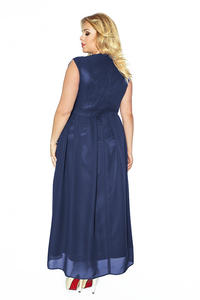 Dark Blue V-Neckline Evening Maxi Dress PLUS SIZE