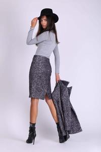 Black Pencil Midi Skirt from Buckle Fabric