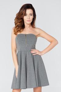 Grey Off Shoulders Party Dress with a Zip