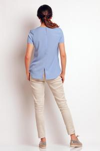 Light Blue Summer Short Sleeves Blouse