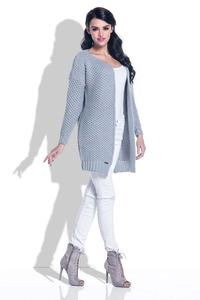 Grey Reglan Sleeves Open Cardigan