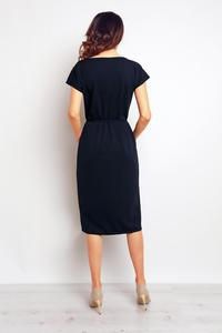 Dark Blue Casual Midi Dress with Big Pockets