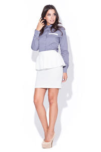 Grey Collared Shirt with Layered Skirt