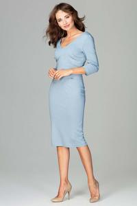 Blue Slim Fit V-Neck Midi Dress