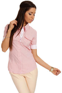 Slim Fit Seam Collared Raspberry Shirt with Flap Chest Pocket