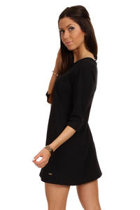 Black Shift Dress with Metallic Emblem