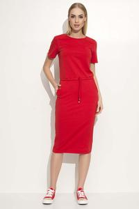 Red Simple Casual Drawsstring Waist Dress