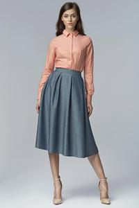 Light Blue Jeans Retro Style Flared Light Pleats Midi Skirt with Pockets