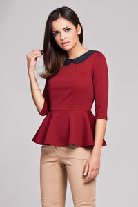 Claret Seam Top with Frilled Hemline and Elbow Length Sleeves