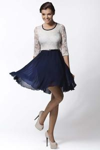 White&Blue Lace Top Romantic Dress