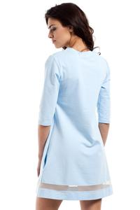 Light Blue Classic Flared Dress with Transparent Strap