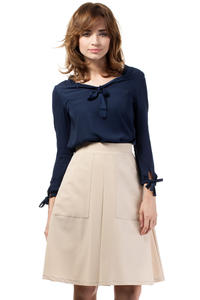 Beige Flared Knee Lenght Skirt with Pockets