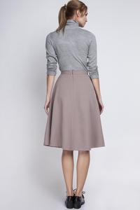 Beige Retro Style Midi Lenght Skirt with Double Fold
