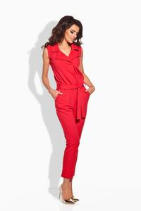 Red Elegant Ladies Jumpsuit with Belt