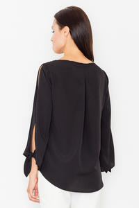 Black Cut Out Sleeves Stylish Blouse