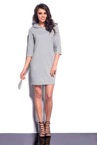 Light Grey Mini Hooded Dress