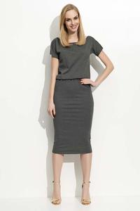 Dark Grey Pencil Dress with Elastic Waist