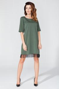 Green 1/2 Sleeves Plain Dress with Tulle Edging