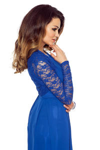 Blue Long Sleeves Lace Bolero Blazer