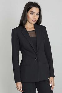 Elegant Black Jacket Stylish Waisted Cut