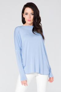 Light Blue Loose Deep Back Cut-ot Blouse