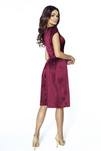 Maroon Wrap Front Elegant Satin Evening Dress