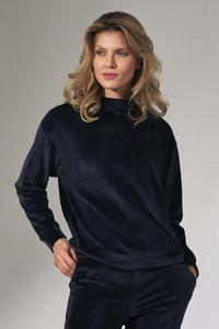 Dark Blue Velveteen Hooded Sport Blouse
