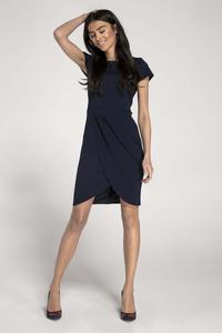 Dark Blue Classic Short Sleeves Dress