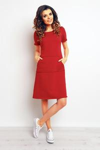 Red Sport Style Dress with Pockets