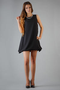 Black Balloon Dress with Waterfall Side Panels