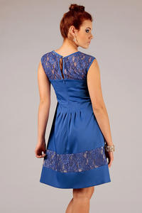 Blue Sleeveless Coctail Dress with Lace Details