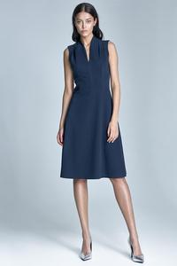 Dark Blue V-Neckline Midi Dress