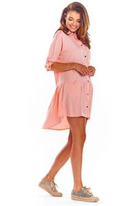 Powdered Loose Shirt Dress with a frill