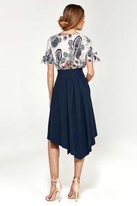 Patterned Short Sleeves Blouse with Bows on the Sleeves