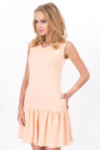 Apricot Summer Style Frilled Sleeveless Mini Dress