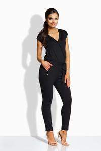 Black V-Neckline Self-Tie Belt Jumpsuit