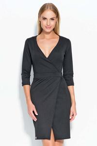 Black Deep V-Neckline Dress