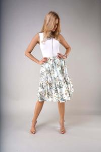 Flared Midi Skirt with a Frill - Patterned