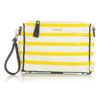 White&Yellow Stylish Clutch Bag with Chain