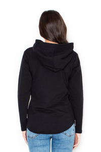 Black Ladies Hoodie with Zips at the Sides