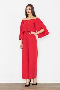 Red Elegant Off-Shoulders Ladies Jumpsuit
