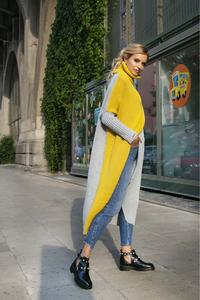 Yellow and Grey Long Sweater With Turtleneck