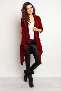 Dark Red Asymetrical Loose Lapels Cardigan