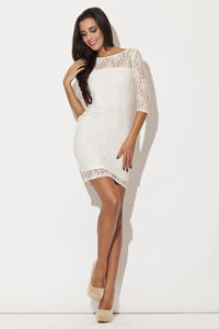 White Floral Lace Shift Dress with Elbow Length Sleeves