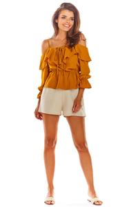 Camel Blouse with a Spanish 3/4 Sleeve Neckline