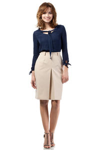 Beige Elegant Knee Lenght Double Fold Skirt
