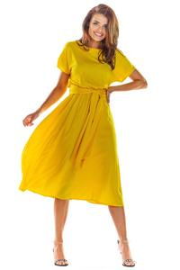 Yellow Flared Midi Dress with Short Kimono Sleeve